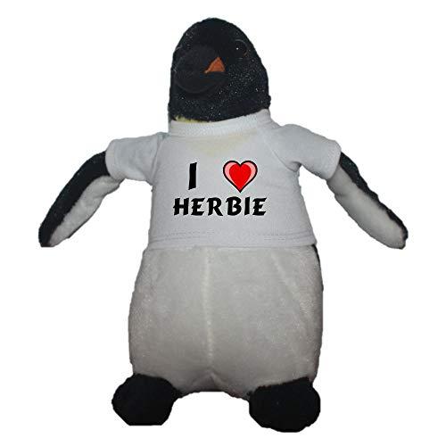 Shopzeus Pingüino personalizado de peluche (juguete) con Amo Herbie en la camiseta (nombre de pila/apellido/apodo)