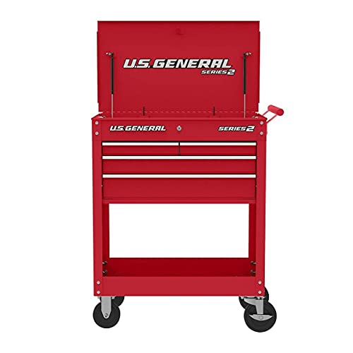 U.S. GENERAL 30 In. 4 Drawer Tech Cart, Red (Side Tray Sold Separately)