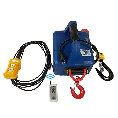 INTBUYING 992Lb X 25 Ft 110V Electric Hoist Portable Household Electric Winch Hoist Crane Lift Motor Steel Braided Cable (Wireless + Cable Control)