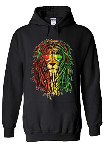 PatPat Store Lion Reggae Music Rasta Funny Novelty Black Men Women Unisex Hooded Sweatshirt Hoodie-S