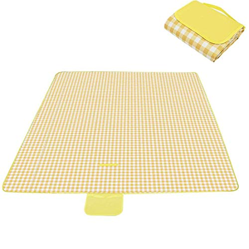 TongICheng 150x100cm Picknick-Decke, beweglicher im Freien Beach Blanket, faltbar Großen Isomatte mit Tragegriff für Wandern Reise (Gelb)