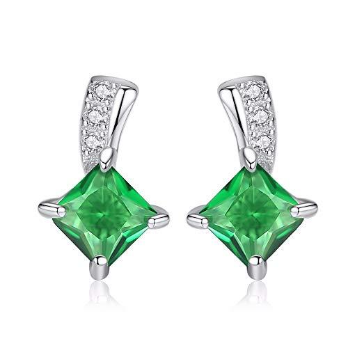 ZHWM Pendientes De clip Aros Lindo Verde Cuadrado Cubic Zirconia Cristal De Plata Dama Pequeño Esmeralda para Las Mujeres Joyería Fina Mujeres Cuelgan 1 Par