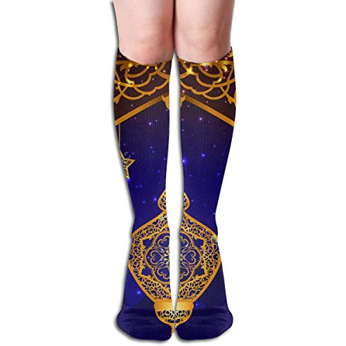 NA achtergrond met Arabische lantaarn vrouwen Sport hoge kousen nieuwigheid bemanning sokken 50CM