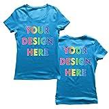 lepni.me Camiseta Mujer Impresión Personalizada de 2 Caras en el Frente y en la Parte Posterior, Texto Personalizado o Diseño de su Propia Imagen (Medium Azul Multicolor)