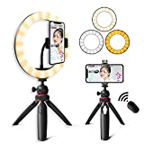 Desk Ring Light with Phone Tripod Stand Kit: Yingnuost 10'' Selfie Circle Lights & Camera/iPhone Holder with Bluetooth Shutter for Makeup | Photography | YouTube TIK Tok Video Recording