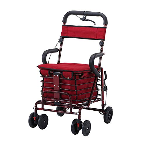 GWXTC Faltbarer Bollerwagen Alter Mann, der tragbaren Einkaufswagen faltet, Lebensmittel einkaufen/Gehhilfe/Ruhesitz Handbremse Universalrad Multifunktionswagen, Belastung: 100 kg (Color : B)