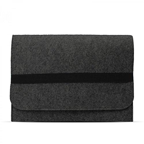 eFabrik Hülle für Lenovo Miix 510 Schutzhülle 12,2 Zoll (auch für Lenovo Miix 310, Miix 700 & Miix 720 geeignet) Ultrabook Laptop Hülle Soft Cover Schutztasche Sleeve Filz dunkel grau