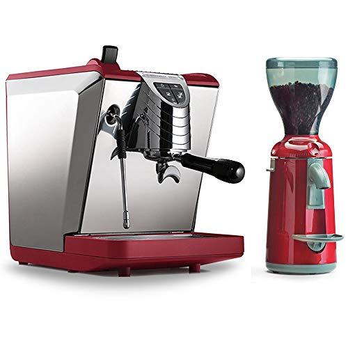 Combo Set Nuova Simonelli Espressomaschine Oscar II rot, Kaffemühle Grinta AMMT Made In Italy