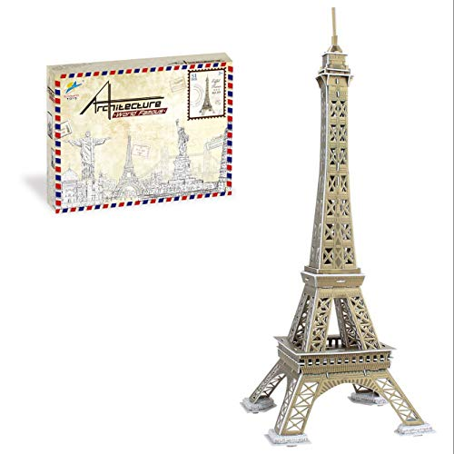 Qprods - The Eiffel Tower Educational 3D Puzzle. 51 Pieces. Big model. 48CM