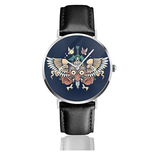 Unisex Business Casual Majoras Mask Do You Want to Play Legend of Zelda Watches Quartz Leather Watch with Black Leather Band for Men Women Young Collection Gift