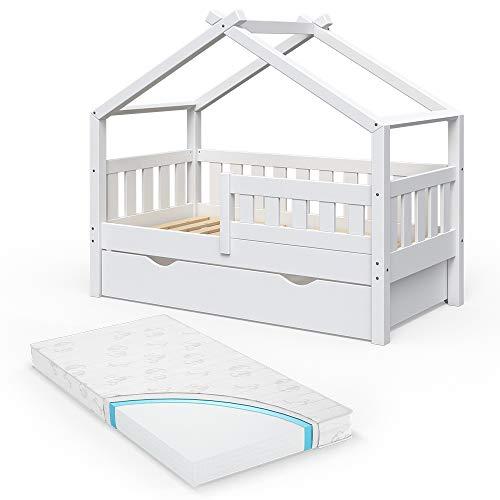 VitaliSpa Design Kinderbett 140x70 Babybett Jugendbett mit Schublade Lattenrost (Weiß mit Matratze)