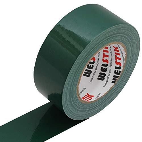 WELSTIK Professional Grade Dark Green Duct Tape, Waterproof Duct Cloth Fabric,Duct Tape for Photographers,Repairs, DIY, Crafts, Indoor Outdoor Use (2 Inch X 45 Yards, Green)