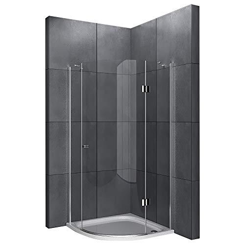 Alpenberger Echtglas Viertelkreis Antikalk Dusche 80 x 80 x 200 cm aus 6 mm ESG (Einscheibensicherheitsglas) | Radius 550 mm | Elegante & Raumsparende Duschlösung für Ihr Badezimmer