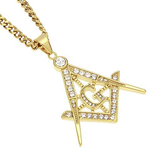 Color Dorado Acero Inoxidable Free Mason Hip Hop Hombres Colgante Collar 70 cm de Largo Cadena masónica Collar Vintage joyería