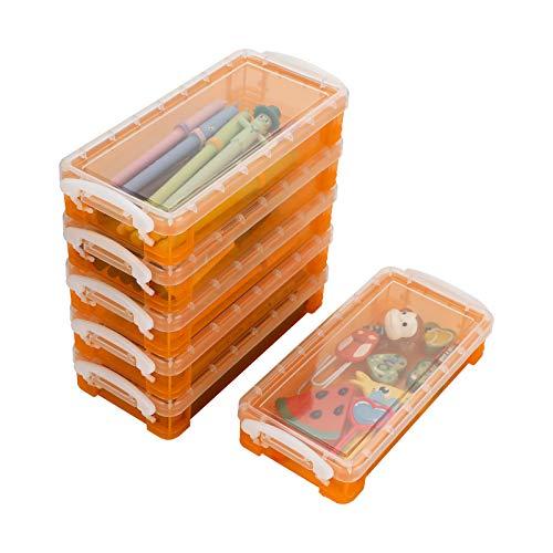 BSTKEY 6 paquetes apilables – Caja de almacenamiento multifuncional transparente de plástico organizador de contenedores para oficina o hogar, color naranja