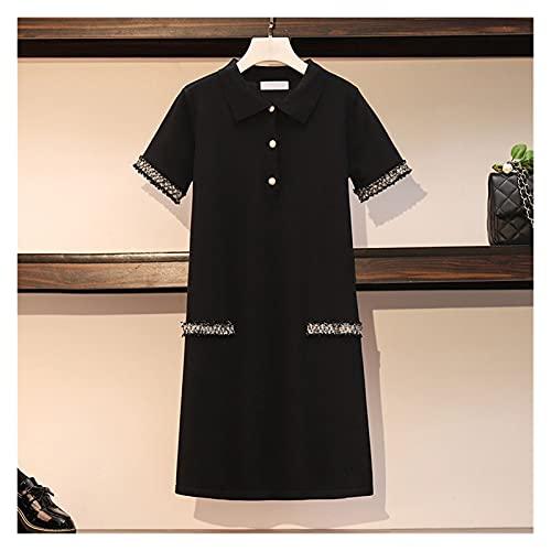 RHH Shop M-4XL Tallas Grandes Vestidos De Punto Negro Manga Corta Summer Mini Mini Tamaño Corto Vestido De Gran Tamaño Gire Doan Collar A-Line (Color : Schwarz, Size : 3XL)