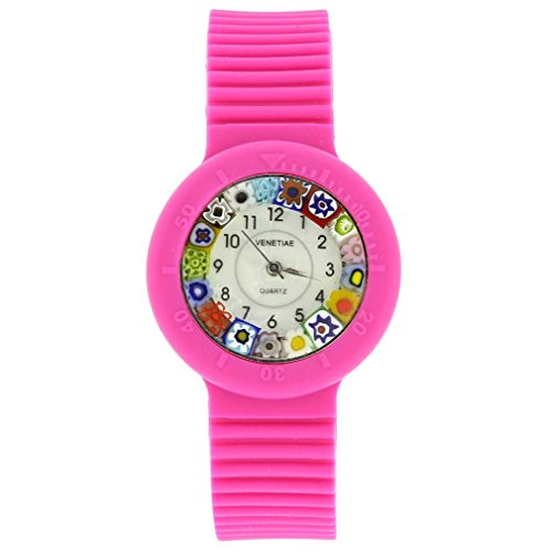 GlassOfVenice Reloj Millefiori de cristal de Murano con correa de goma, color rosa