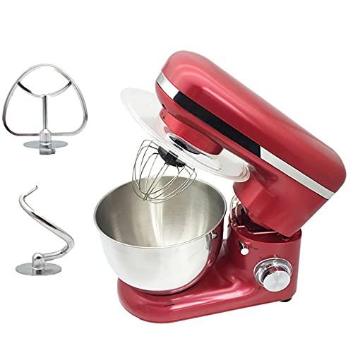 YMLSD 4L Inoxidable Acero Cuenco 6 velocidades Cocina Comida Estar Mezclador Crema Huevo Batidor Licuadora Pastel Masa un Pan Mezclador Fabricante Máquina a/rojo/Como se muestra