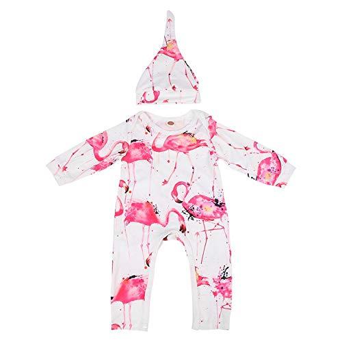 Baby meisjes overall, flamingo opdruk baby overalls met hoed fotografie rekwisieten voor feestjes, wandelen, kamperen baby meisjes kleding 80