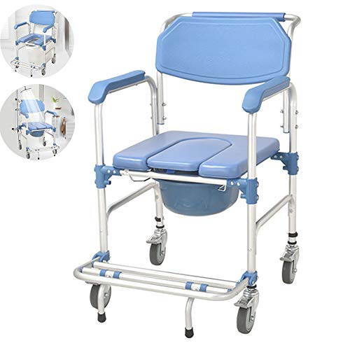 MKHDD Lite Toilet Wheelchair Lightweight Bathroom Aids and Safety Wheel Chairs/Shower Bath Stools for Elderly, Handicapped and Disabled Users