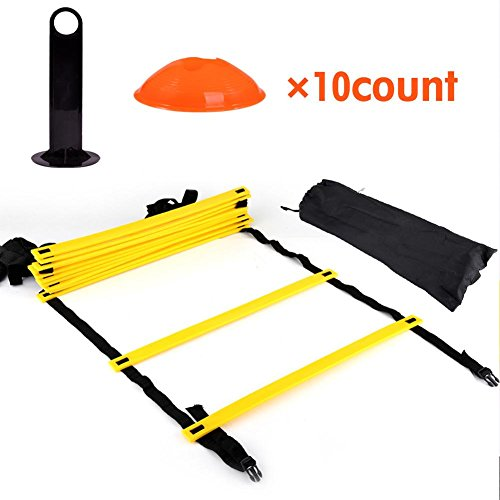 Alomejor1 Speed Agility Ladder Jumping Fitness Voetbal Training Snelheid Agility Flexibiliteit Ladder 10 Kegels voor Voetbal Training