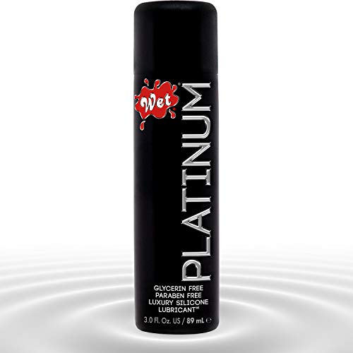 Wet Platinum Silicone Based Sex Lube 3 Ounce. Premium Personal Luxury Lubricant for Men Women & Couples. More Long Lasting Than Water Based. Condom Safe Hypoallergenic Glycerin Paraben Free Intimacy