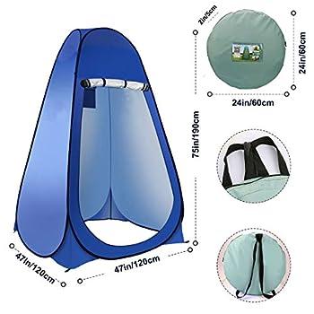 Laelr Tente de toilette escamotable, Douche Intimité Toilette Vestiaire Tente à langer Tente de plage pliable et portable Tente extérieure pour camping, randonnée, pêche (47 po x 47 po x 75 po)