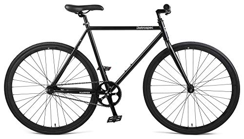 Retrospec Harper Single-Speed Fixie Style Urban Commuter Bike with Coaster Brake, Matte Black 43cm, XS
