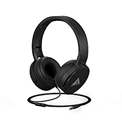 Boult Audio Bass Buds Q2 Over-Ear Wired Lightweight Stereo Headphones, Deep Bass & in-Built Mic, Headset with Comfortable Ear Cushions, Long Cord (Black),Exotic Mile,BassBud Q2 Wired