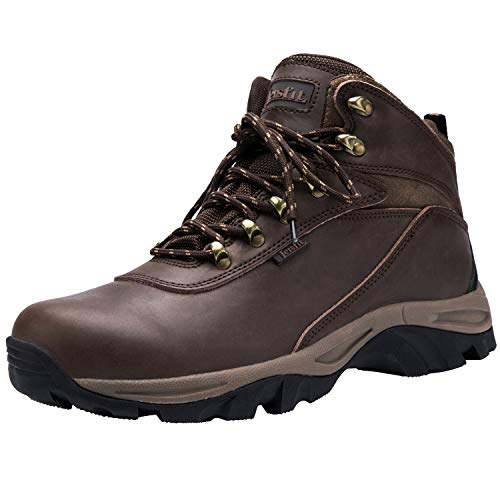 Leisfit Stylish Waterproof Winter Snow Boots Insulated Leather Hiking Boots for Men Dark Brown 10
