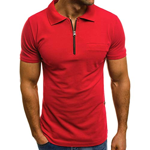 iYYVV Fashion Personality Men's Casual Slim Short Sleeve Pockets T Shirt Top Blouse Red