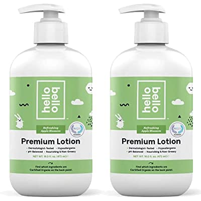 Hello Bello Baby Lotion - Dermatologist-Tested & Hypoallergenic for Sensitive Skin - Thoughtful Ingredients - Nourishing & Non-Greasy - Apple Blossom, 16 Fl Oz (Pack of 2) from Hello Bello