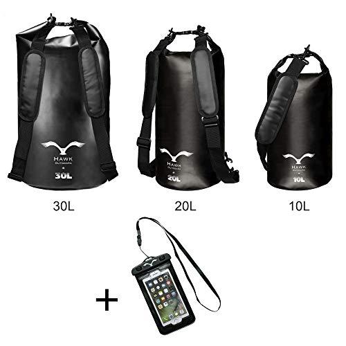 HAWK OUTDOORS Dry Bag - wasserdichter Packsack mit gepolsterten Schulter-Gurten inklusive wasserdichter Handy-Hülle - 30L/20L/10L - Stausack Seesack - Wasserfester Rucksack - Segeln (Schwarz, 30L)