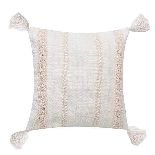 Cojines para Sofa Fundas De Cojín Fundas De Cojines Cotton India Style by Passer Omorocco Mano-Bordado A Mano. Ensefa Geométrica.-45 * 45Cm_Zr-12