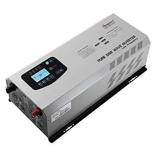 AMPINVT 6000W Peak 18000W Pure Sine Wave Power Inverter Charger DC 48V to 120V/240V AC Output Converter Off Grid Low Frequency Solar Inverter for Sealed Gel AGM Flooded Lithium Battery