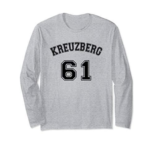 Kreuzberg 61 Berliner Bezirk Nostalgie Design Schwarzer Text Langarmshirt