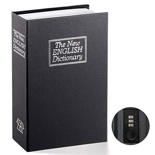Buchsafe mit Kombinationsschloss - Parrency getarnte geldkassette schlosskasten, The New English Dictionary, 24 x 16 x 5.5 cm, Medium, SBH-MM-M001, Schwarz