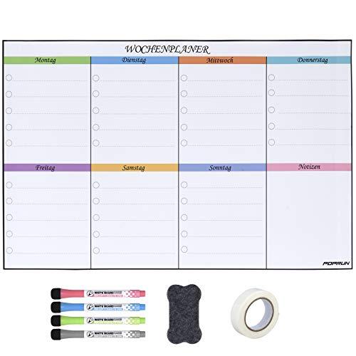POPRUN 43 x28 cm Abwischbar Whiteboard Wochenplaner für die Wand,selbstklebende Whiteboard Kalender für Küche Einkaufsliste und Essensplan AUF DEUTSCH