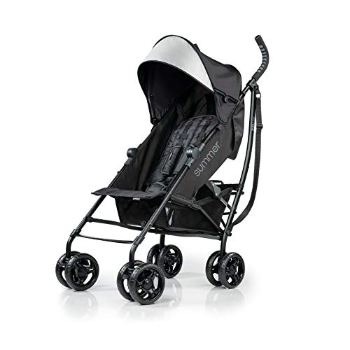 Summer 3Dlite Convenience Stroller, Jet Black – Lightweight Stroller with Aluminum Frame, Large Seat Area, 4 Position Recline, Extra Large Storage Basket – Infant Stroller for Travel and More (2019)