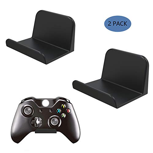 WGOAL Game Controller Wall Mount Stand Holder (2 Pack) Compatible for Xbox One PS4 PlayStation Steam Nintendo Switch Pro Elite PC Controller Headsets, Universal Video Game Controller Accessories Black