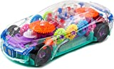 Toysery Transparent Toy Car for Toddlers,Electric Mechanical Gear Race Car with Colorful Light and...