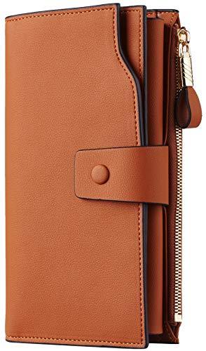 Travelambo Womens RFID Blocking Large Capacity Luxury Waxed Genuine Leather Clutch Wallet Multi Card Organizer (ReNapa Tan)