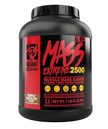 Mutant Mass XXXtreme Mass Gainer Molkenproteinpulver, Hohe Kaloriendichte zum Aufbau von Muskelgröβe & Kraft – 7 lbs – Dreifach-Schoko-Geschmack