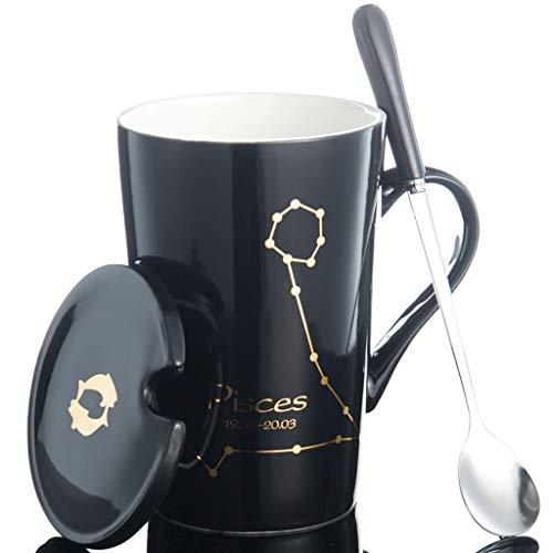 Tasse à thé élégante Creative Constellation Céramique grande capacité avec cuillère de recouvrement - Ménage de bureau (Couleur: Noir, Taille: Sagittaire) (Couleur : Black, Taille : Aries)