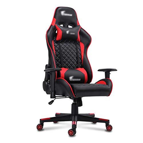 Gaming Chair Sillas Gamer Oficina Color Rojo Silla Escritorio Racing ErgonóMica SillóN Despacho Giratorio Reposabrazos Altura Regulable Gran Confort, Larga Durabilidad,Rojo