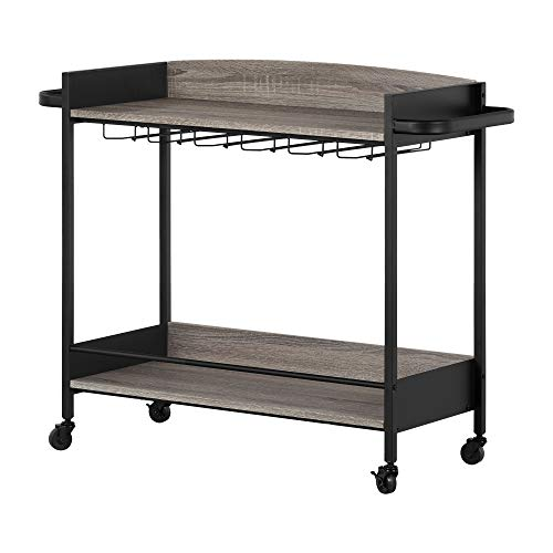 South Shore Cart, Black and Weathered Oak