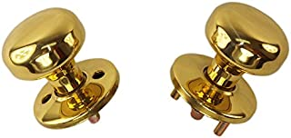 Tuff Stuff 3004 Polished Brass US3 Interior Exterior Knob Rose Kit for Thru Bolted Ornamental Iron Gate Door Mortise Lock Sets (Compatible with Marks 22AC)