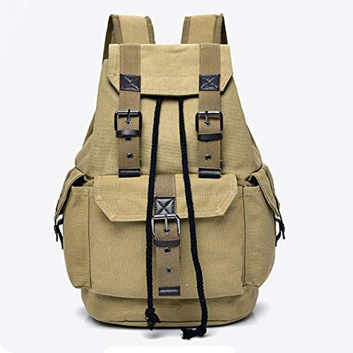 Men Women Travel Canvas Backpack Rucksack School Satchel Hiking Travel Backpack Large Capacity Outdoor Military Backpack,Khaki