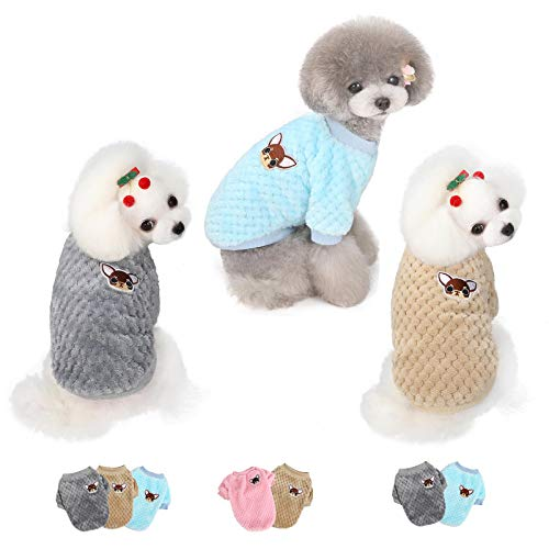 3 Pieces Dog Clothes for Small Medium Large Dog or Cat, Warm Soft Flannel Pet Sweater for Puppy, Small Dogs Girl or Boy, Dog Sweaters Vest Shirt Coat Jacket for Christmas (L, Grey+Coffee+Sky Blue)