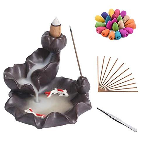 Fatto a mano Bruciatore di incenso riflusso Ceramica Porta incenso per bastoncini Aromaterapia Oggettistica per la casa regalo con 90 coni di incenso a riflusso Set 30 bastoncini di incenso
